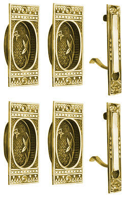 Broken Leaf Double Pocket Passage Style Door Set (Polished Brass)