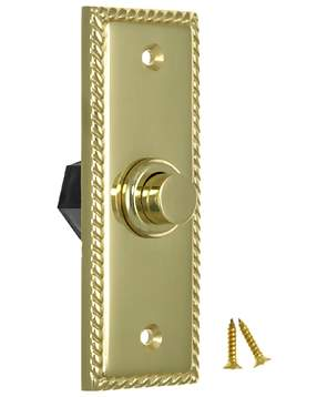 3 1/3 Inch Solid Brass Doorbell Button (Polished Brass Finish)