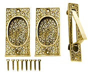 Rice Pattern Single Pocket Passage Style Door Set (Polished Brass)