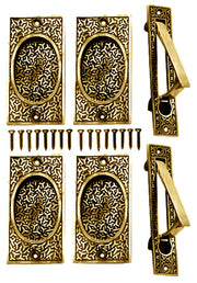Rice Pattern Double Pocket Passage Style Door Set (Polished Brass)
