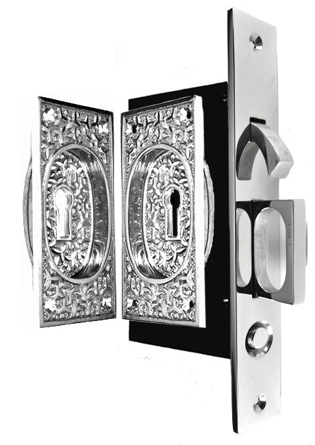 Rice Pattern Single Pocket Privacy (Lock) Style Door Set (Polished Chrome)