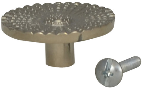 1 1/2 Solid Brass Art Deco Style Round Knob (Polished Nickel Finish)