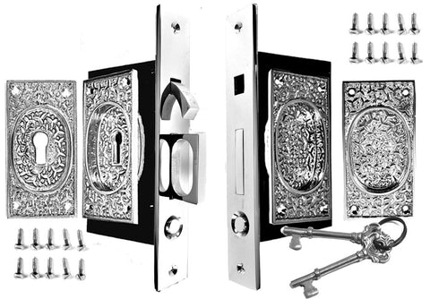 Rice Pattern Double Pocket Privacy Style Door Set (Polished Chrome)