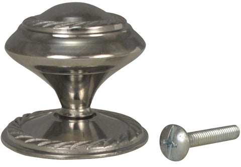1 1/2 Inch Brass Round Knob with Georgian Roped Border (Polished Chrome Finish)