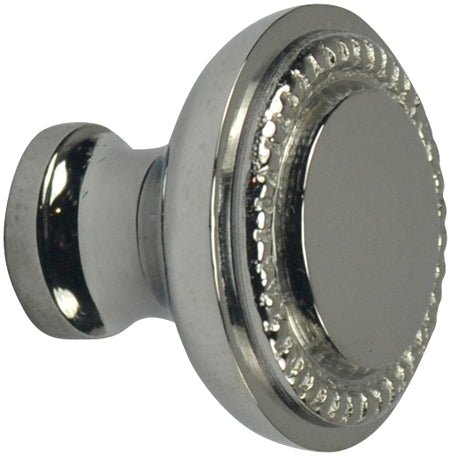 1 1/2 Inch Solid Brass Beaded Round Knob (Polished Chrome Finish)