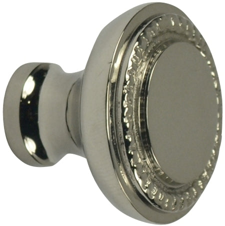 1 1/2 Inch Solid Brass Beaded Round Knob (Polished Nickel Finish)