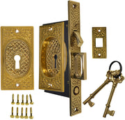Craftsman Pattern Single Pocket Privacy (Lock) Style Door Set (Polished Brass)