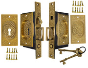 Craftsman Pattern Double Pocket Privacy (Lock) Style Door Set (Polished Brass)