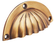 3 1/2 Inch Overall (3 Inch c-c) Solid Brass Scalloped Cup Pull (Antique Brass Finish)