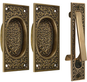 Rice Pattern Single Pocket Passage Style Door Set (Antique Brass Finish)