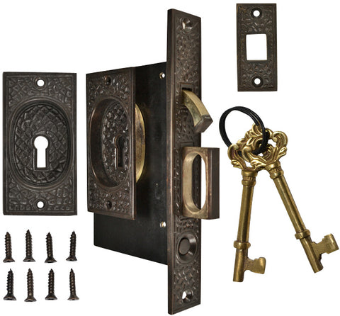 Craftsman Pattern Single Pocket Privacy (Lock) Style Door Set (Oil Rubbed Bronze)