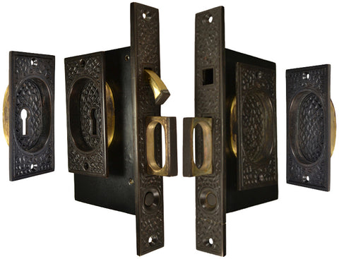 Craftsman Pattern Double Pocket Privacy (Lock) Style Door Set (Oil Rubbed Bronze)