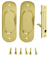 Traditional Oval Pattern Single Pocket Passage Style Door Set (Polished Brass Finish)