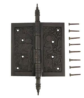 4 1/2 x 4 1/2 Inch Japanesque Style Ornate Solid Brass Hinge (Oil Rubbed Bronze Finish)