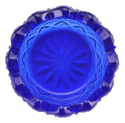 Cobalt Blue Glass Sawtooth Pattern Open Salt Cellar