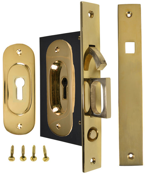Traditional Oval Pattern Single Pocket Privacy (Lock) Style Door Set (Polished Brass)