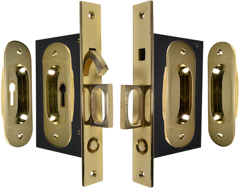 Traditional Oval Pattern Double Pocket Privacy (Lock) Style Door Set (Polished Brass)