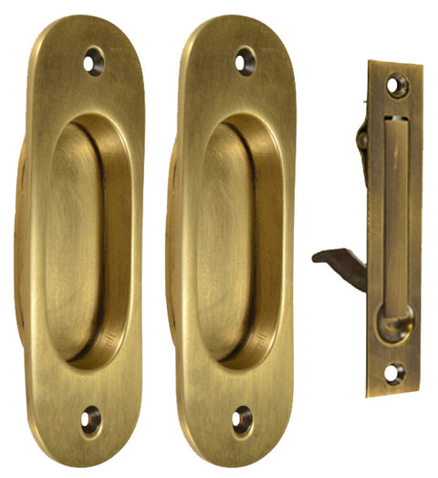Traditional Oval Pattern Single Pocket Passage Style Door Set (Antique Brass Finish)