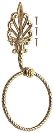 Art Deco Fleur De Lis Towel Ring (Polished Brass Finish)