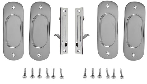 Traditional Oval Pattern Double Pocket Passage Style Door Set (Polished Chrome)