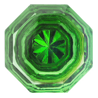 1 3/8 Inch Emerald Green Glass Octagon Old Town Cabinet Knob (Polished Brass Base)