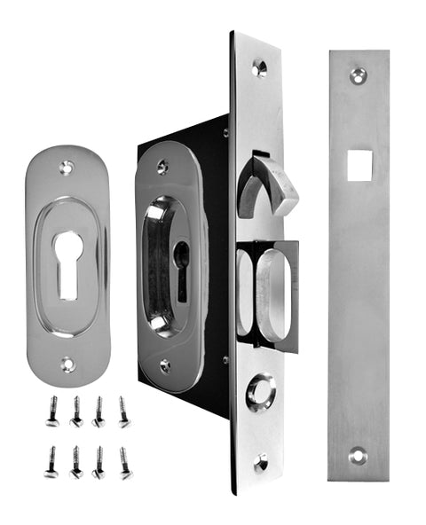Traditional Oval Pattern Single Pocket Privacy (Lock) Style Door Set (Polished Chrome)