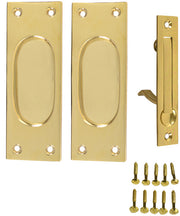 New Traditional Square Pattern Single Pocket Passage Style Door Set (Polished Brass Finish)
