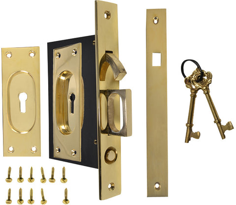 New Traditional Square Pattern Single Pocket Privacy (Lock) Style Door Set (Polished Brass)