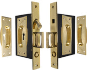 New Traditional Square Pattern Double Pocket Privacy (Lock) Style Door Set (Polished Brass)