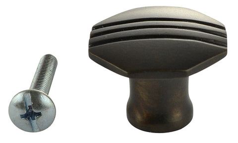 1 1/10 Inch Solid Brass Black Stripe Octagon Knob (Oil Rubbed Bronze Finish)