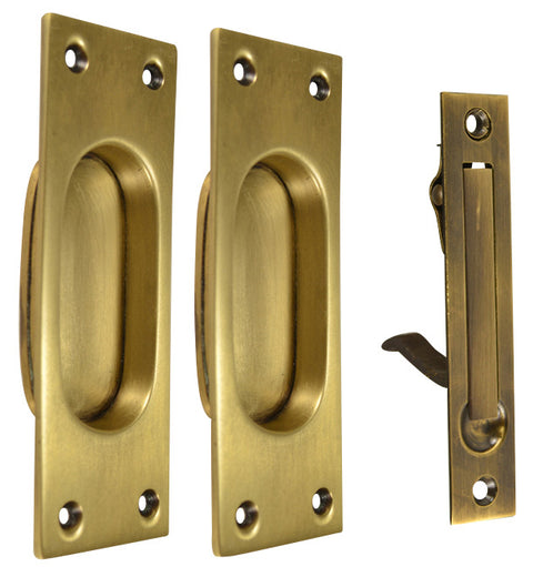 New Traditional Square Pattern Single Pocket Passage Style Door Set (Antique Brass Finish)