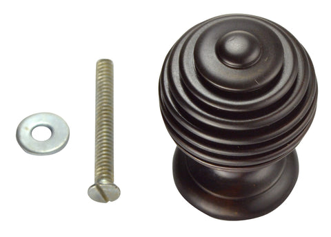 1 1/2 Inch Solid Brass Circular Knob (Oil Rubbed Bronze Finish)