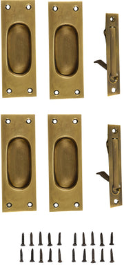 New Traditional Square Pattern Double Pocket Passage Style Door Set (Antique Brass)