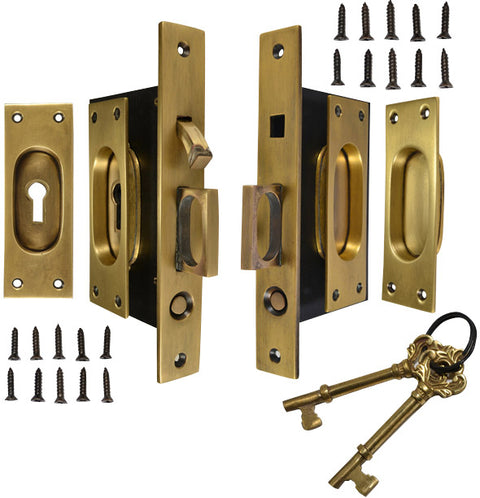 New Traditional Square Pattern Double Pocket Privacy (Lock) Style Door Set (Antique Brass)