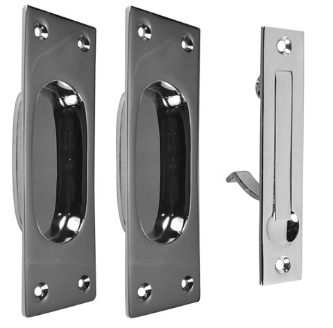 New Traditional Square Pattern Single Pocket Passage Style Door Set (Polished Chrome Finish)