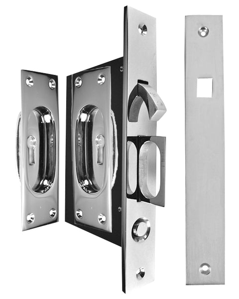New Traditional Square Pattern Single Pocket Privacy (Lock) Style Door Set (Polished Chrome)