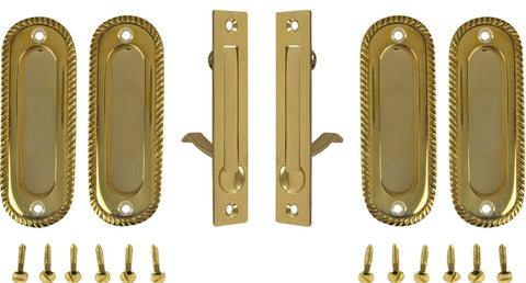 Georgian Oval Double Pocket Passage Style Door Set (Polished Brass)
