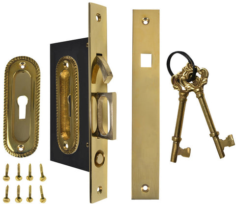 Georgian Oval Pattern Single Pocket Privacy (Lock) Style Door Set (Polished Brass)