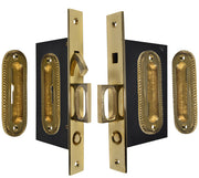 Georgian Oval Pattern Double Pocket Privacy (Lock) Style Door Set (Polished Brass)