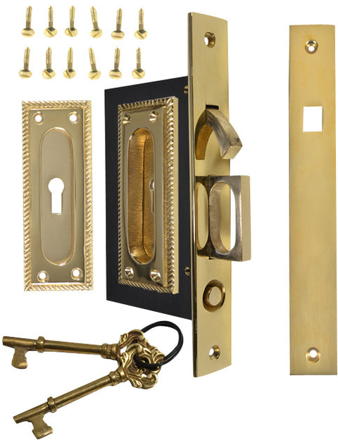 Georgian Square Pattern Single Pocket Privacy (Lock) Style Door Set (Polished Brass)