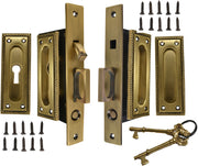 Georgian Square Pattern Double Pocket Privacy (Lock) Style Door Set (Antique Brass)