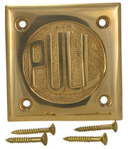 "2 3/4 Inch Brass Classic American ""PULL"" Plate (Polished Brass Finish)"