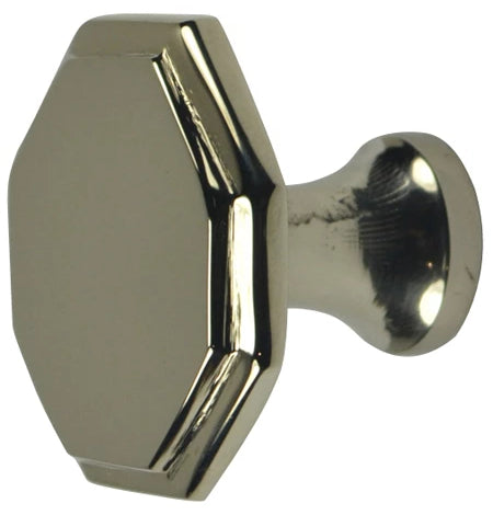 1 5/8 Inch Solid Brass Octagonal Cabinet Knob (Polished Nickel Finish)