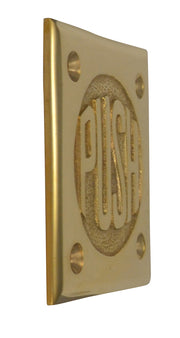 "2 3/4 Inch Brass Classic American ""PUSH"" Plate (Polished Brass Finish)"