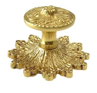 3 3/8 Inch Solid Brass Rococo Victorian Knob with Back Plate (Polished Brass Finish)
