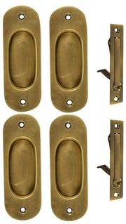 Traditional Oval Pattern Double Pocket Passage Style Door Set (Antique Brass)