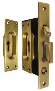 New Traditional Square Pattern Single Pocket Privacy (Lock) Style Door Set (Antique Brass)