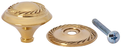 1 1/4 Inch Solid Brass Georgian Roped Round Knob (Polished Brass Finish)