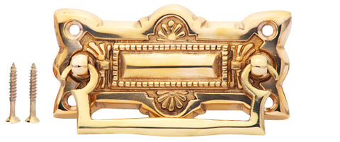 3 3/4 Inch Art Deco Solid Brass Drawer Pull (Polished Brass Finish)