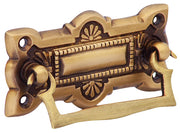 3 3/4 Inch Art Deco Solid Brass Drawer Pull (Antique Brass Finish)